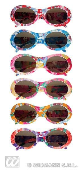 Hippie Flower Time Glasses 60s 70s Woodstock Groove Flower Power Fancy Dress