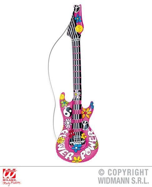 Hippie Inflatable Guitar 105cm Blow-Up 60s 70s Woodstock Groove Flower Power
