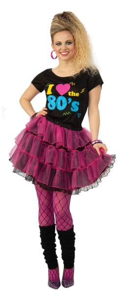 I Love The 80s Top T-Shirt Sweater Ladies Fancy Dress