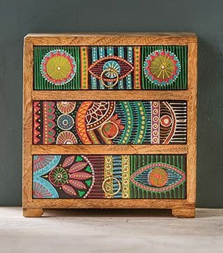 Indian Hand Painted 3 Drawer Chest - Spice Rack / Jewellery Box 21 x 12 x 21cm