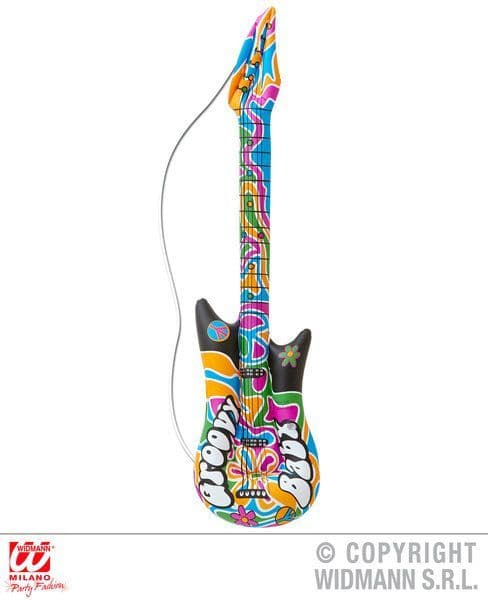Inflatable Groovy Guitar 105cm Blow-Up Hippie 70s Festival Hippy Novelty