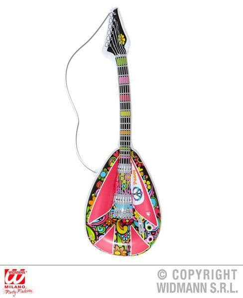 Inflatable Hippie Mandolin 105cm Blow-Up 60s 70s Woodstock Groove Flower Power