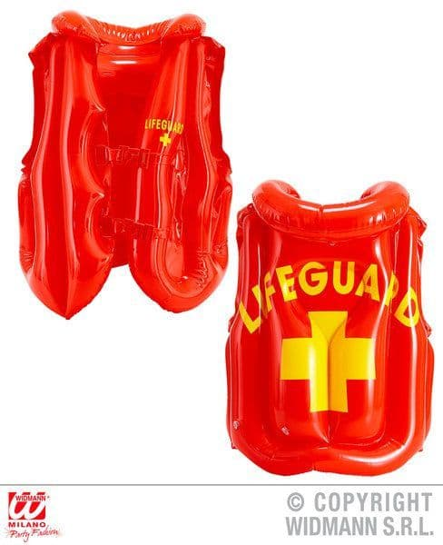 Inflatable Lifeguard Vest Blow-Up Tv Beach Hero Novelty Swimming