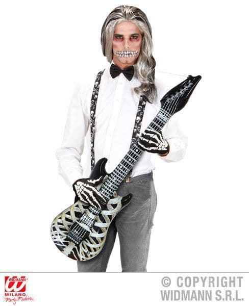 Inflatable Skeleton Guitar 105cm Blow-Up Halloween Walking Dead Trick Or Treat