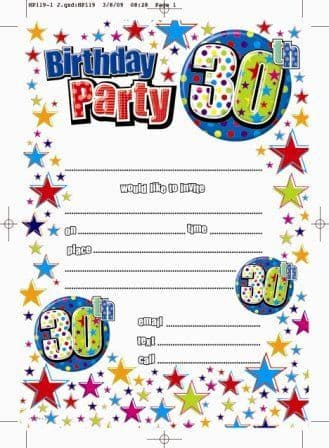 Invitation Birthday 30th 20 Sheets