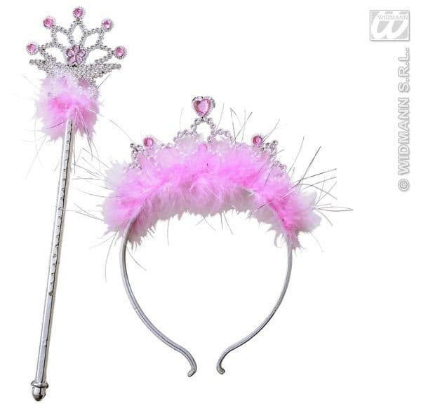 Jewelled Tiara & Wand With Marabou Hat Hen Princess Prom Queen Fancy Dress