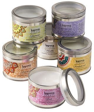 Karma Scents Scented Candle Tin with Glass lid Choice of 6 Incense Fragrances