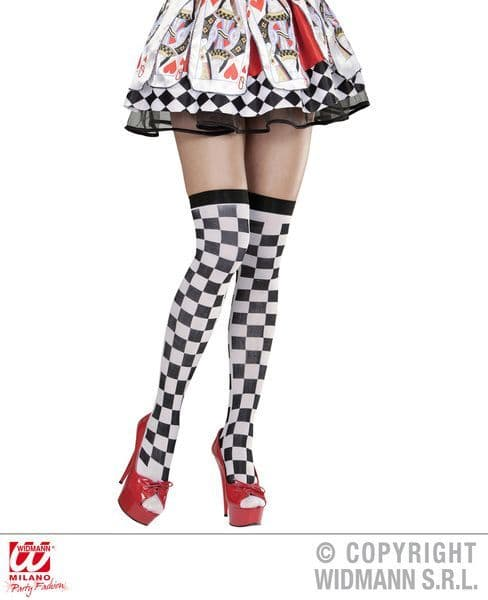 Ladies Chequered Over The Knee Socks Stockings Sexy Sissy Cosplay Fancy Dress