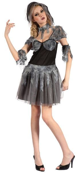 Ladies Gothic Bride Costume Emo Goth Vampire Halloween Fancy Dress Outfit