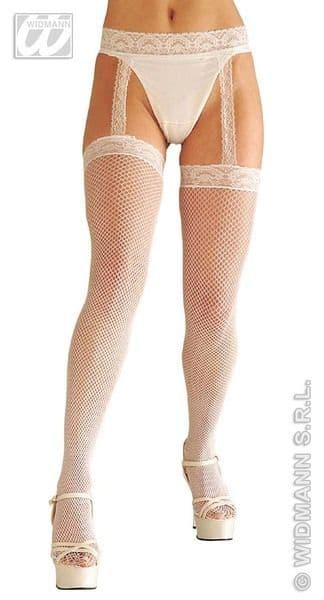 Ladies White Lace Top F/Net Thigh Highs W/Garter Belt Sexy Erotic Sissy