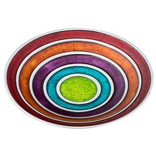 Large Multicolour Handmade Bowl Contemporary Enamelled Recycled Aluminium 31cm