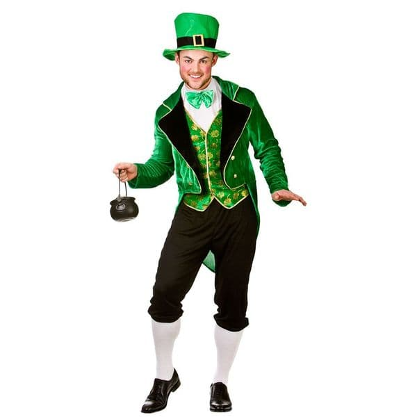 Mens Deluxe Leprechaun Costume Irish St Patricks Day Eire Green Fancy Dress