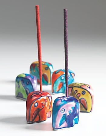 Mini Elephant Shaped Hand Painted Ceramic Incense Holder Joss Stick 3.5x2.5x2cm