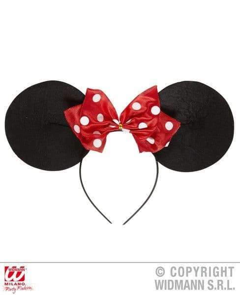 Miss Mouse Ears Headband W/Bow Hat Rodent Animal Creature Mammal Fancy Dress