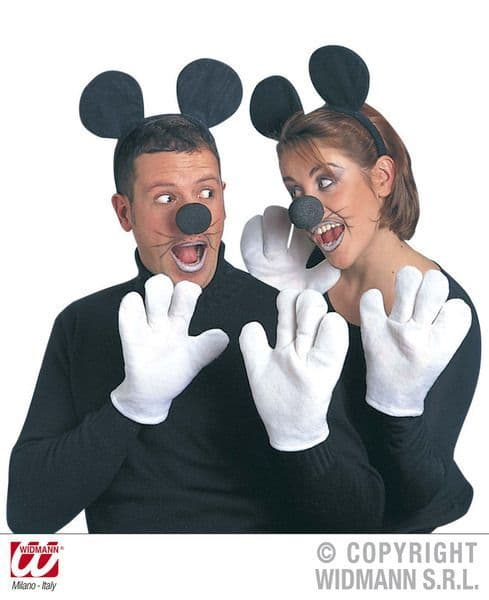 Mouse Set Ears Gloves Nose Rodent Animal Creature Mammal Fancy Dress