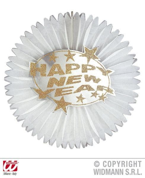 New Year Paper Fan Dia 55cm 2 Colours Fancy Dress