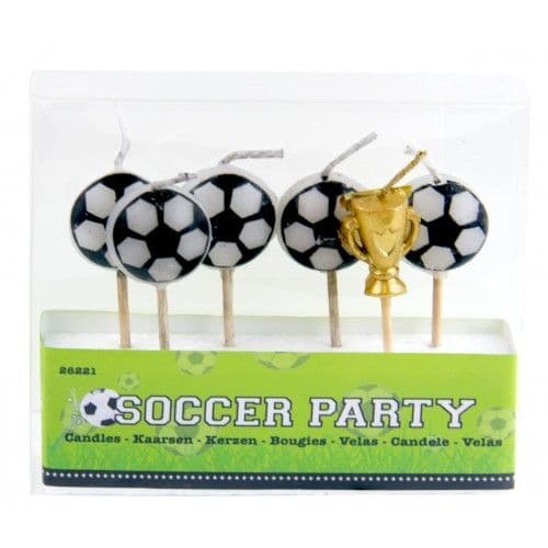 Pack of 6 Football Birthday Party Cake Candles Soccer World Cup
