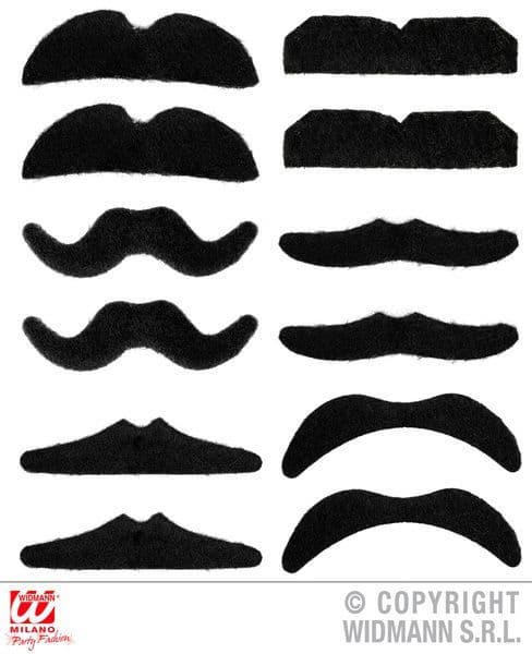 Party Moustaches Black Set 12 Victorian 19th 20th Century Historic Fancy Dress