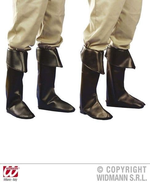 Pirate Leather Boot Covers Black Or Brown High Seas Buccaneer Hijacker Sailor