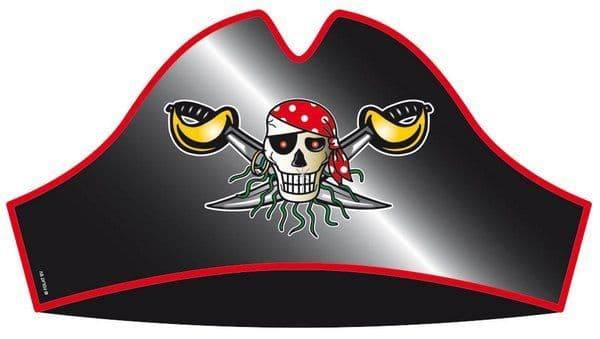 Pirate Red Party Hats 8's High Seas Buccaneer Hijacker Sailor