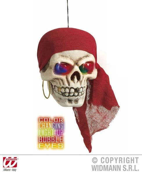 Pirate Skulls W/ Cols Light 40cm Decoration High Seas Buccaneer Hijacker Sailor