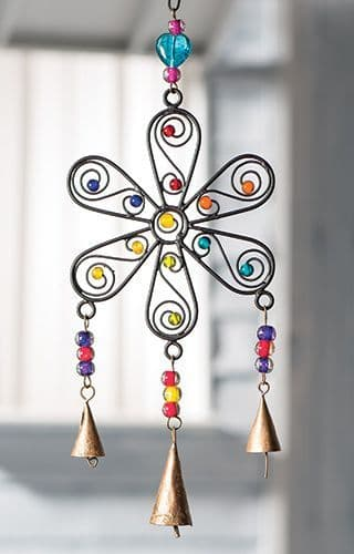 Recycled Metal Flower Windchime Vibrant Mixed Beads 14.7 x 31cm Garden Ornament