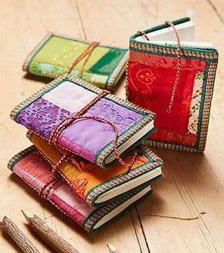 Recycled Sari Cotton Covered Bound Paper Notebook Handmade Notepad Diary Book