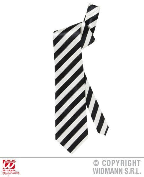 Satin White Gangster Necktie Black Stripes Mob Wiseguy 20s 30s 40s Fancy Dress