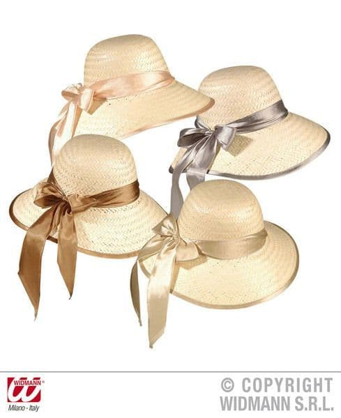 Straw Chicago Hat W/Ribbon Disposable Gangster Mob 20s 30s Party Tableware