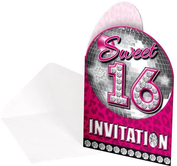 Sweet 16th Party Invitations 8Pk