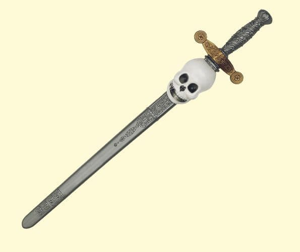 Sword with Skull Grey Black & Scabbard Toy Weapon