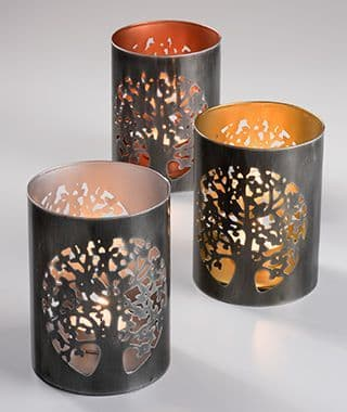 Tree of Life Tealight Candle Holders 11cm Recycled Metal Handmade Gift