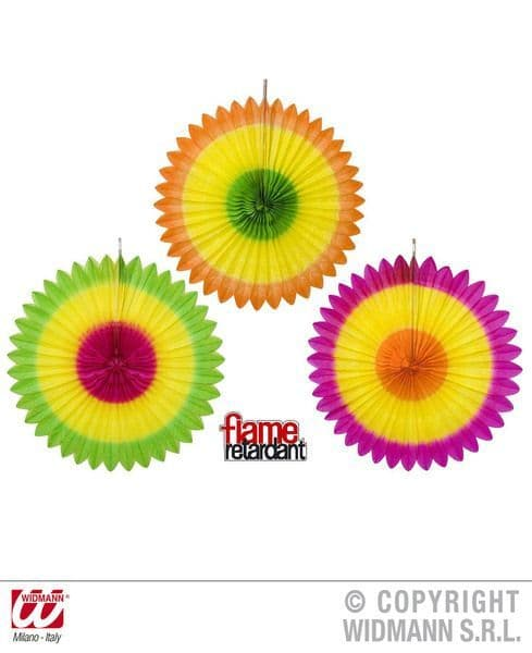 Tricolour Paper Fans 3 Colours Fancy Dress