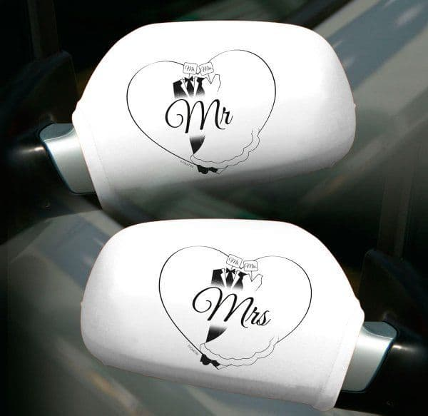 Wedding Car Mirror covers for Car Just Married Sport Racing Nascar GP GT