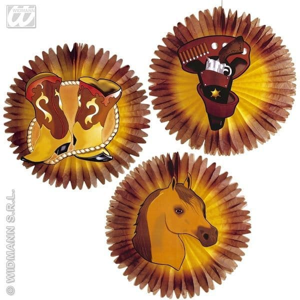 Western Paper Fans 55cm Dallas Texas Confedirate Wild West Cowboy Fancy Dress