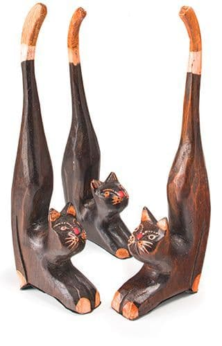 Wooden Longtail Cat Handcarved & Painted Contemporary Home Gift Ornament 20cm