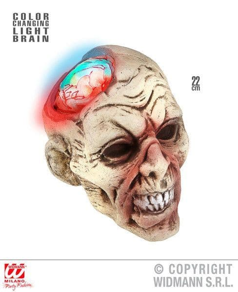 Zombie Head W/ Color Change Light Brain 22cm Halloween Walking Dead Trick Or