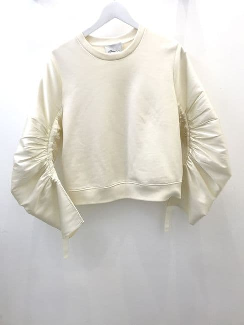 3.1 Phillip Lim Cream Ruched Sleeve Top Size M #10623/5 M