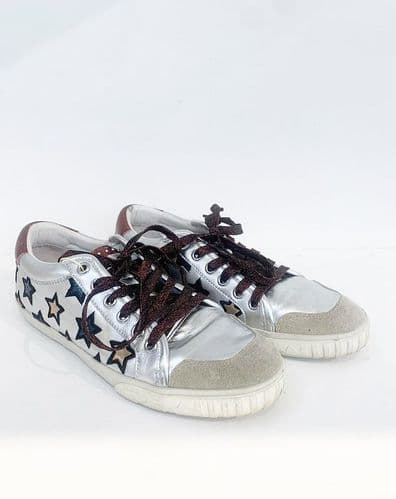 Ash Silver Star Trainers Size 5 #178/4 A