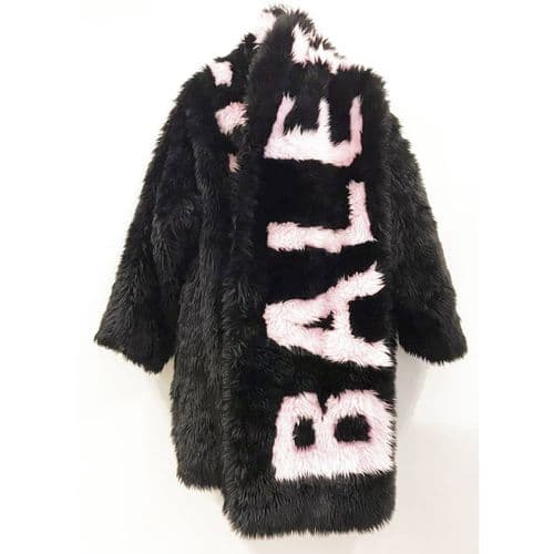 Balenciaga Black Faux  Fur Coat (Size 34) & Scarf (Onesize) Set
