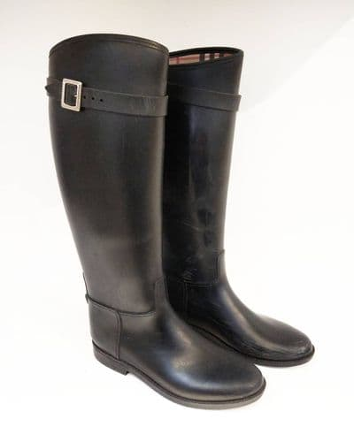 Burberry Women's Black Rubber Wellington Boots Size 40 #51/756/A