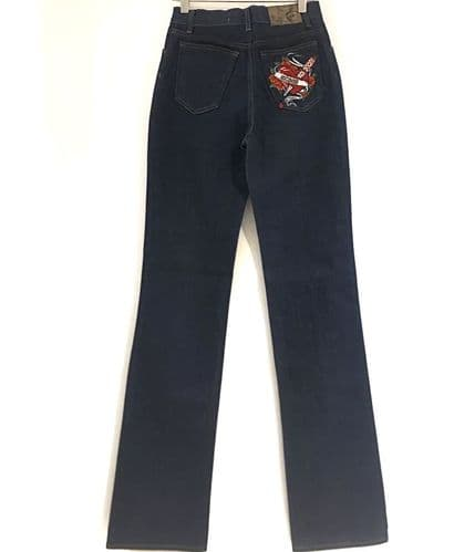 Cavalli Womens Blue Embroidered Jeans Size 27w #1408/45 M Cb