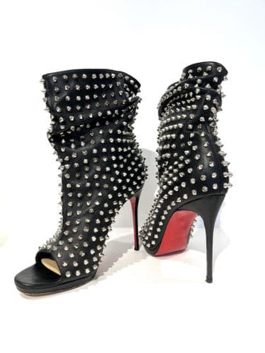 Christian Louboutin Guerilla Spike Black Leather Open Toe Ankle Boot Size 6 #9/1038/A