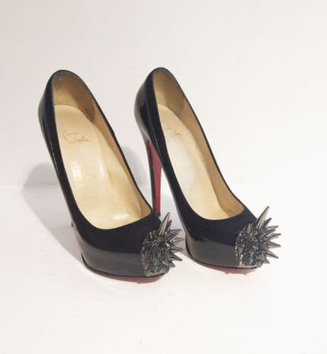 Christian Louboutin Women's Black Patent Leather Spike Platforms Size 38.5...
