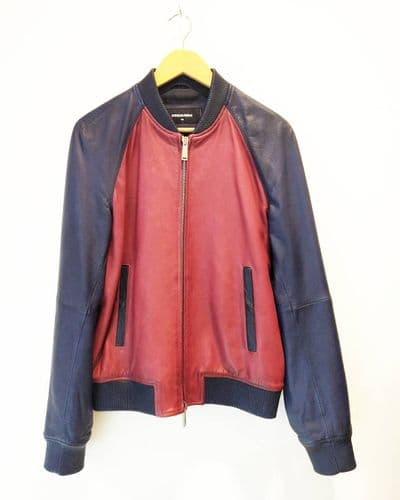 Dsquared2 Men's Navy & Red Leather Bomber Jacket Size 50 #