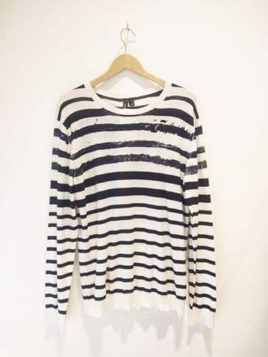Edun Men's Navy/ White Striped Knit Size L #21/3552/A FB