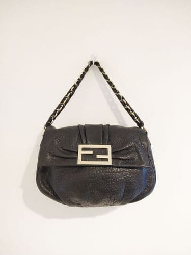 Fendi Black Pebbled Leather Bag with Chain Strap