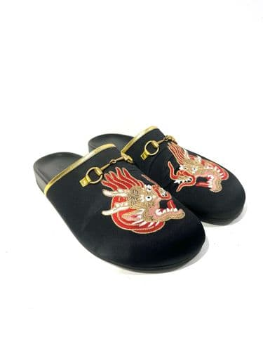 Gucci Black Satin Embroidered Mules size 6