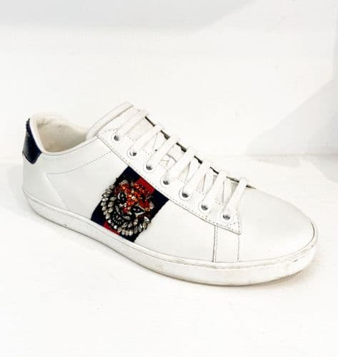 Gucci White Tiger Trainers size 38 1/2 #1729/1 A