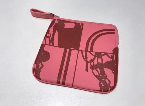 Hermes Pink Carre Pocket Pouch #16/2337/M